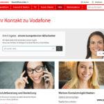 Screenshot Vodafone Webseite